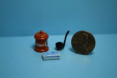 Dollhouse Miniature Smoking Pipe, Tobacco Container & Box of Matches B1494