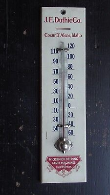 Antique Advertising Thermometer McCormick Deering Implements Coeur d'Alene ID