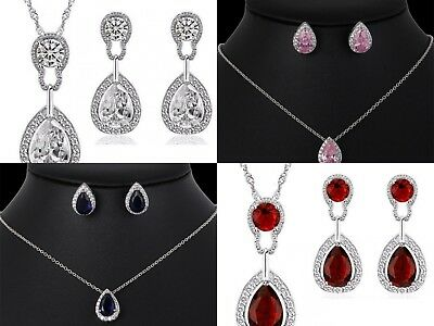 Ladies Women Teardrop Crystal Jewellery Wedding Fashion Necklace Earring Set UK