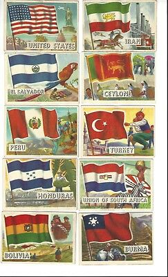 1956 Topps Flags of the World Trading Cards, Lot of 63 cards