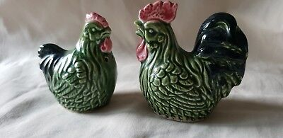 Vintage Rooster & Hen Salt & Pepper Pots. Ceramic. Hand Painted. Preowned. Vgc