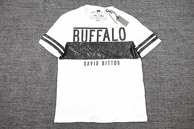 Buffalo David Bitton White Medium Faux Leather Striped Tshirt Mens Nwt New
