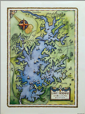 "Lake Norman, NC 18"" x 24"" Full-Color Fine Limited Edition Lithograph Map"