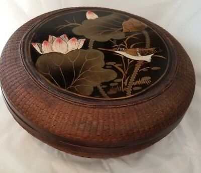 Beautiful Woven, Hand Painted, Covered Asian Styled Round Basket