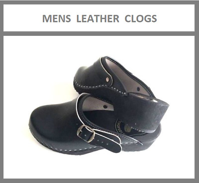 Men's Leather Wooden Clogs Comfortable Summer Perfect for Drivers