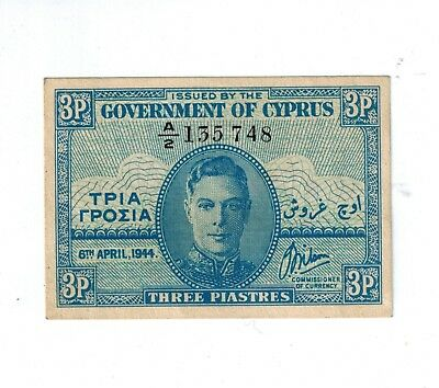 Cyprus 3 piasters 1944 in UNC Bill Paper Money Currency