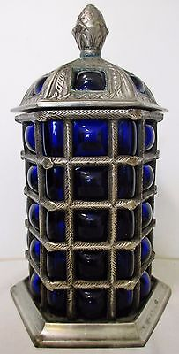 "9"" Cobalt Blue Blown Bubble Glass Silverplated Metal Lidded Apothecary Jar Urn"