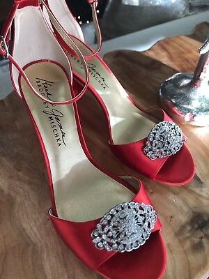 c325a7f90a48 Mark and James BADGLEY MISCHKA Red Dress Pumps Shoes Sparkle! NEW!