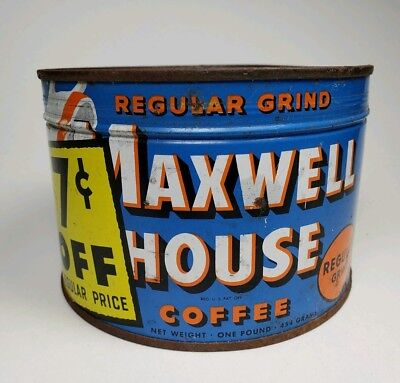 Vintage Unopened Maxwell House Coffee Can 1 LB  Key Wind 7 Cents Off Ad