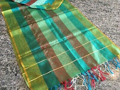 "Vintage Womens Green & Brown Striped Silk Oblong Scarf Shawl 21"" X 72"""
