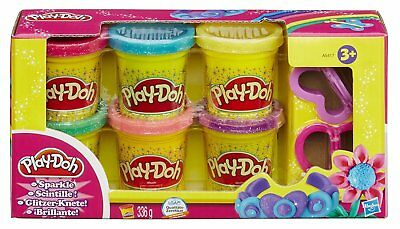 Play-Doh Sparkle Compound 6 Colours 2 Clay Cutters Playset Classic Tubs 6 Pack