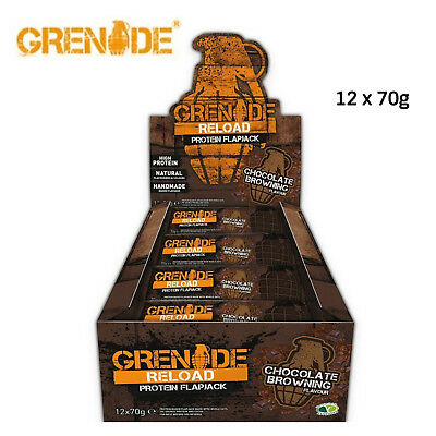 Grenade Reload Protein Flapjacks, 12 x 70 g Bars Chocolate Browning