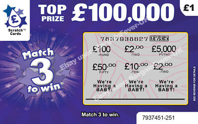 Baby Announcement Card - Lottery Scratchcard shows WIN as 'We're Having a Baby!'