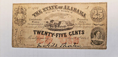 1863 Alabama Confederate 25 Cent Fractional Currency Note CIVIL WAR ERA