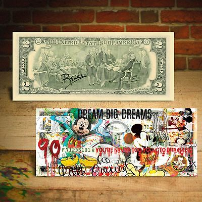 MICKEY MOUSE 90th Birthday Genuine $2 U.S. Bill Pop Art  - Hand-Signed by Rency