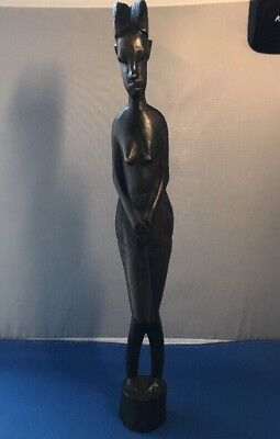 """Vintage Hand Carved Wood African Tribal Fertility Woman Figurine 14"""" Tall"""