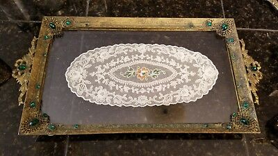 Lovely vintage Vanity Tray 20's Green Jeweled Brass Plated & (3) Accessories