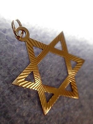 10k Solid Yellow Gold Star of David Pendant Finely Detailed JUDAICA 1.5 GRAMS