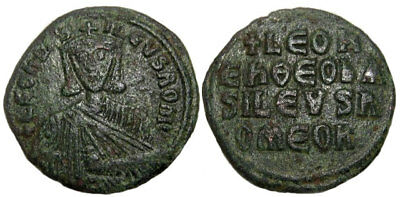BYZANTINE EMPIRE , SUPERB LEO VI (the Wise), AE Follis , 26 mm. 866-912 AD.+++