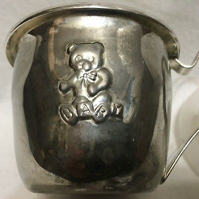 Vintage,Silver Teddy Bear Baby Cup with Lid, ABC blocks  !!!   S1