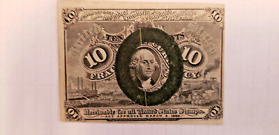 U.s. Fractional Currency 10 Cents George Washington 1863 Civil War Era