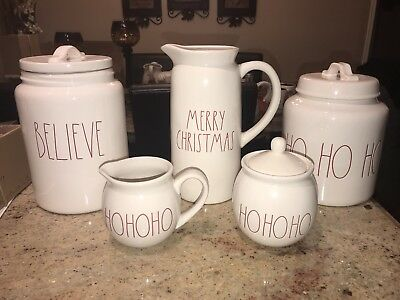 NEW Rae Dunn Merry Christmas Ho Ho Ho Believe Canister Pitcher Sugar Bowls Cream