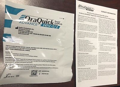ORAQUICK Advance Rapid Antibody HIV 1/2 In Home Test Kit