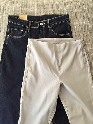 H&M Dark Blue Denim Jeans  & Grey Stretch Canvas Pants Girls Size 12