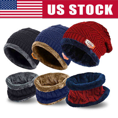 Winter Beanie Hat Scarf Set Fleece Warm Balaclava Snow Ski Cap for Men Women USA