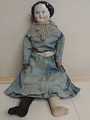 """Lovely Antique 21"""" Tall China Doll - Fully Dressed, possibly German 19th Century"""