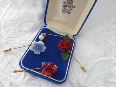 """STUNNING VINTAGE   """"boxed ANTIQUE,  4 ASSORTED BONE CHINA STICK PINS   """""""