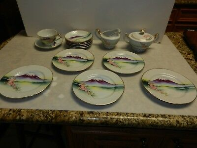 Vtg 13 PCS Japan Cherry Blossoms Hand Painted Cup Saucers Cream Sugar