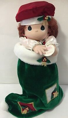 Precious Moments #1141 Stocking Doll Christmas Holly QVC Exclusive 1999