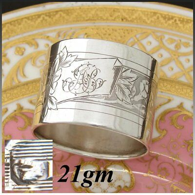 Antique French Sterling Silver Napkin Ring, Ornate Guilloche Style Floral
