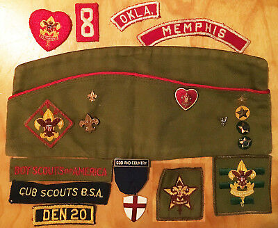 Vintage Boy Scouts lot — cap pins and patches, God and Country pin, Memphis