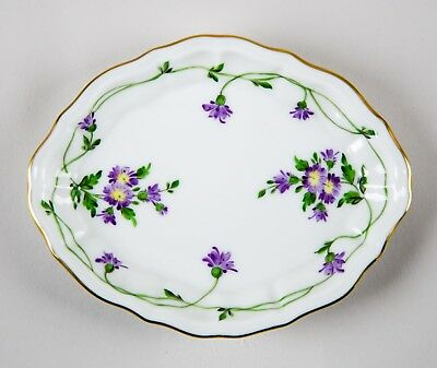 Herend Imola Small Oval Tray Trinket Dish 7736 Purple Flowers