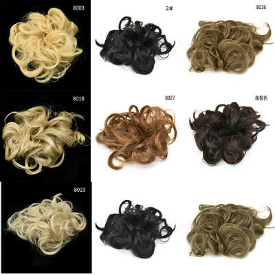 Natural Human Curly Messy Bun Hair Piece Scrunchie New Fake Hair Extensions