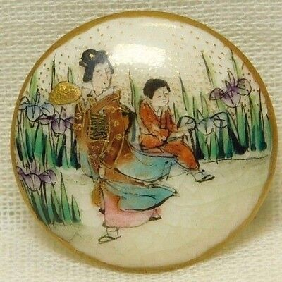 Antique 19TH C. Japanese SATSUMA Pottery Button Hand Painted ARTIST Signed W151