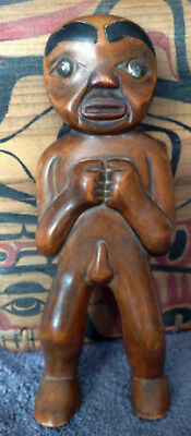 Intriguing Carving Of Male Shamanic / Fertility Figure ~ Pacific Northwest Style