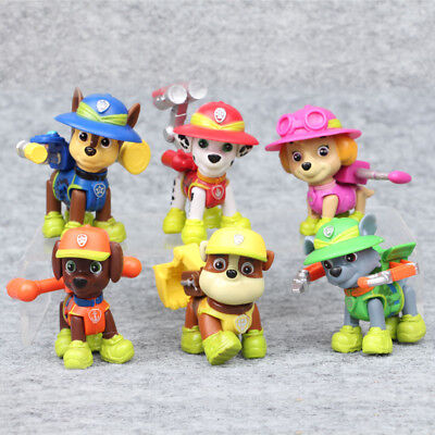6 PCS Paw Patrol Jungle Rescue Movie Action Figure Doll Gifts Cake Topper Toys