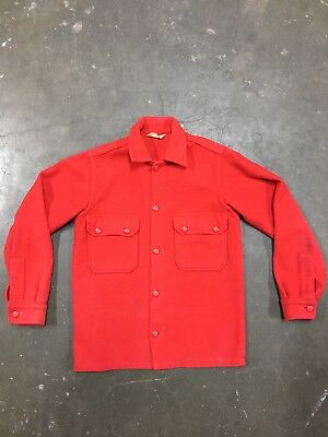 Vintage 50's Wool Boy Scout Shirt Jacket bsa official 60's Red