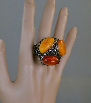 Antique BUTTERSCOTCH AMBER Silver HUGE STATEMENT Ring 25.8 Grams, 32mm, Signed