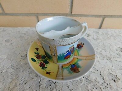 Vintage Right Handed Mustache Cup And Saucer