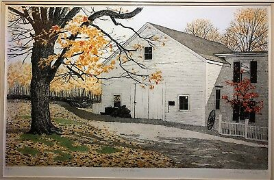 """Culver's Farm"" Carol Collette Hand-Colored Etching - 1980 New England Autumn"