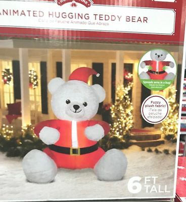 89c47a1ae8683 NEW Airblown Inflatable Animated Hugging Teddy Bear 6 Ft Tall Christmas  Gemmy