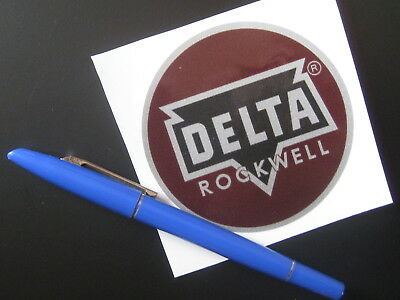 """3.37"""" DELTA ROCKWELL DECAL - for vintage Delta machinery - badge, nameplate, tag"""