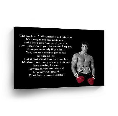 Rocky Balboa Motivational Quote Canvas Print Wall Art Hope  Sylvester Stallone