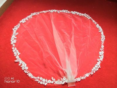 White Ivory Wedding Veils Elbow Length Lace with Comb Bridal Bride Accessories