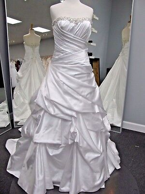 Alfred Angelo Wedding Gown #2245 size 6 white satin A-line Pick Ups ELEGANT!