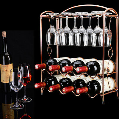 8 Bottle Luxurious Iron Wine Champagne Rack Shelf-Complete Wine Storage Solution